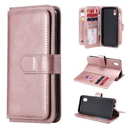 Multi-function Ten Card Slots and Photo Frame PU Leather Wallet Phone Case Cover for Samsung Galaxy A01 Core - Rose Gold