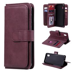 Multi-function Ten Card Slots and Photo Frame PU Leather Wallet Phone Case Cover for Samsung Galaxy A01 Core - Claret