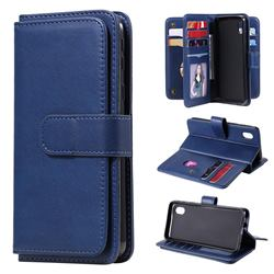 Multi-function Ten Card Slots and Photo Frame PU Leather Wallet Phone Case Cover for Samsung Galaxy A01 Core - Dark Blue