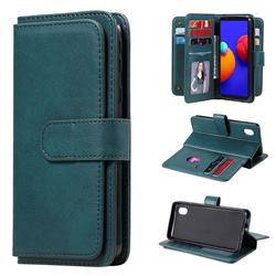 Multi-function Ten Card Slots and Photo Frame PU Leather Wallet Phone Case Cover for Samsung Galaxy A01 Core - Dark Green