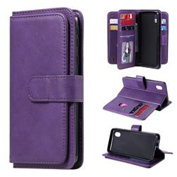 Multi-function Ten Card Slots and Photo Frame PU Leather Wallet Phone Case Cover for Samsung Galaxy A01 Core - Violet