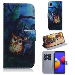 Oil Painting Owl PU Leather Wallet Case for Samsung Galaxy A01 Core