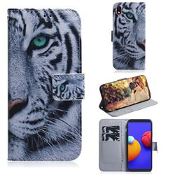 White Tiger PU Leather Wallet Case for Samsung Galaxy A01 Core