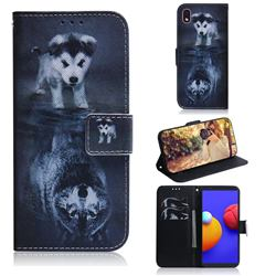 Wolf and Dog PU Leather Wallet Case for Samsung Galaxy A01 Core