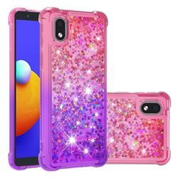 Rainbow Gradient Liquid Glitter Quicksand Sequins Phone Case for Samsung Galaxy A01 Core - Pink Purple