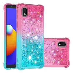Rainbow Gradient Liquid Glitter Quicksand Sequins Phone Case for Samsung Galaxy A01 Core - Pink Blue