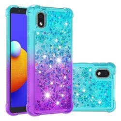 Rainbow Gradient Liquid Glitter Quicksand Sequins Phone Case for Samsung Galaxy A01 Core - Blue Purple