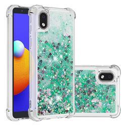 Dynamic Liquid Glitter Sand Quicksand TPU Case for Samsung Galaxy A01 Core - Green Love Heart