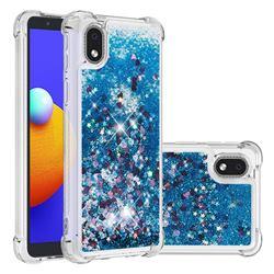 Dynamic Liquid Glitter Sand Quicksand TPU Case for Samsung Galaxy A01 Core - Blue Love Heart