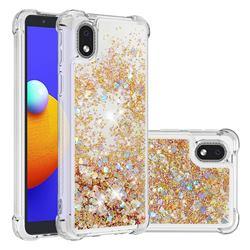 Dynamic Liquid Glitter Sand Quicksand TPU Case for Samsung Galaxy A01 Core - Rose Gold Love Heart