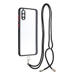Necklace Cross-body Lanyard Strap Cord Phone Case Cover for Samsung Galaxy A02 - Black