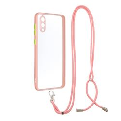 Necklace Cross-body Lanyard Strap Cord Phone Case Cover for Samsung Galaxy A02 - Pink
