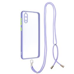 Necklace Cross-body Lanyard Strap Cord Phone Case Cover for Samsung Galaxy A02 - Purple
