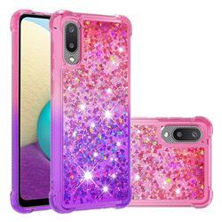 Rainbow Gradient Liquid Glitter Quicksand Sequins Phone Case for Samsung Galaxy A02 - Pink Purple