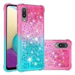 Rainbow Gradient Liquid Glitter Quicksand Sequins Phone Case for Samsung Galaxy A02 - Pink Blue