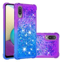 Rainbow Gradient Liquid Glitter Quicksand Sequins Phone Case for Samsung Galaxy A02 - Purple Blue