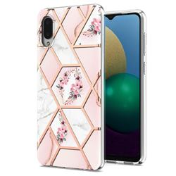 Pink Flower Marble Electroplating Protective Case Cover for Samsung Galaxy A02