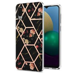 Black Rose Flower Marble Electroplating Protective Case Cover for Samsung Galaxy A02