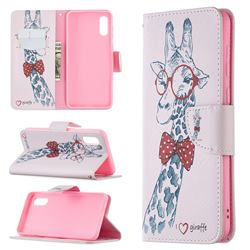 Glasses Giraffe Leather Wallet Case for Samsung Galaxy A02