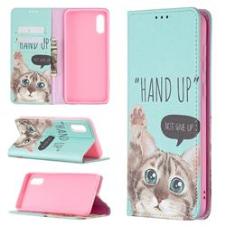 Hand Up Cat Slim Magnetic Attraction Wallet Flip Cover for Samsung Galaxy A02