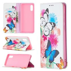 Flying Butterflies Slim Magnetic Attraction Wallet Flip Cover for Samsung Galaxy A02