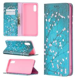 Plum Blossom Slim Magnetic Attraction Wallet Flip Cover for Samsung Galaxy A02