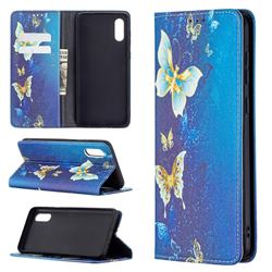 Gold Butterfly Slim Magnetic Attraction Wallet Flip Cover for Samsung Galaxy A02