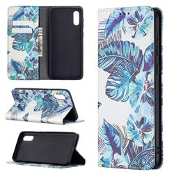 Blue Leaf Slim Magnetic Attraction Wallet Flip Cover for Samsung Galaxy A02