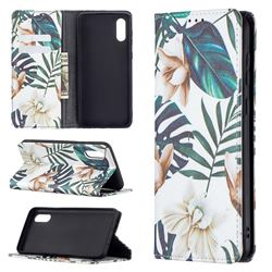 Flower Leaf Slim Magnetic Attraction Wallet Flip Cover for Samsung Galaxy A02