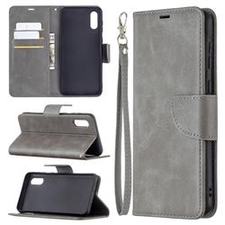 Classic Sheepskin PU Leather Phone Wallet Case for Samsung Galaxy A02 - Gray