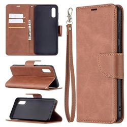 Classic Sheepskin PU Leather Phone Wallet Case for Samsung Galaxy A02 - Brown