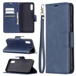 Classic Sheepskin PU Leather Phone Wallet Case for Samsung Galaxy A02 - Blue