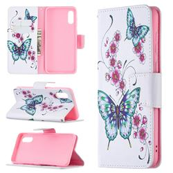 Peach Butterflies Leather Wallet Case for Samsung Galaxy A02
