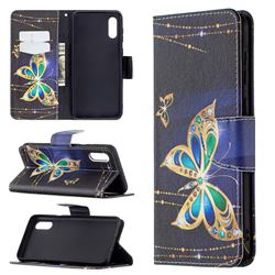 Golden Shining Butterfly Leather Wallet Case for Samsung Galaxy A02