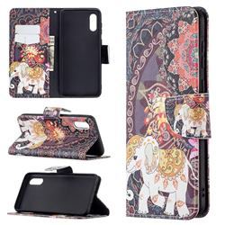 Totem Flower Elephant Leather Wallet Case for Samsung Galaxy A02