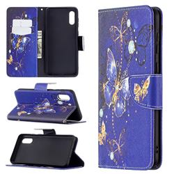 Purple Butterfly Leather Wallet Case for Samsung Galaxy A02