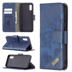 BinfenColor BF04 Color Block Stitching Crocodile Leather Case Cover for Samsung Galaxy A02 - Blue