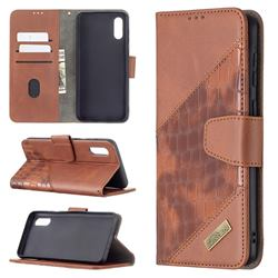 BinfenColor BF04 Color Block Stitching Crocodile Leather Case Cover for Samsung Galaxy A02 - Brown