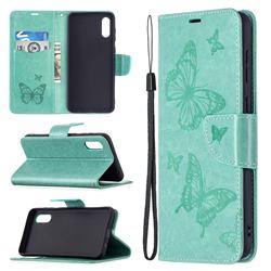 Embossing Double Butterfly Leather Wallet Case for Samsung Galaxy A02 - Green