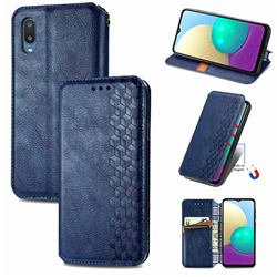 Ultra Slim Fashion Business Card Magnetic Automatic Suction Leather Flip Cover for Samsung Galaxy A02 - Dark Blue