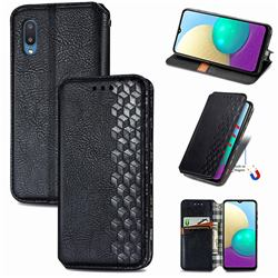 Ultra Slim Fashion Business Card Magnetic Automatic Suction Leather Flip Cover for Samsung Galaxy A02 - Black