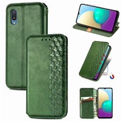 Ultra Slim Fashion Business Card Magnetic Automatic Suction Leather Flip Cover for Samsung Galaxy A02 - Green