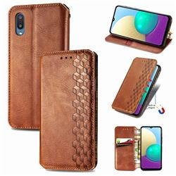 Ultra Slim Fashion Business Card Magnetic Automatic Suction Leather Flip Cover for Samsung Galaxy A02 - Brown