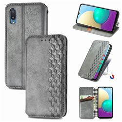 Ultra Slim Fashion Business Card Magnetic Automatic Suction Leather Flip Cover for Samsung Galaxy A02 - Grey