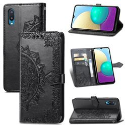 Embossing Imprint Mandala Flower Leather Wallet Case for Samsung Galaxy A02 - Black