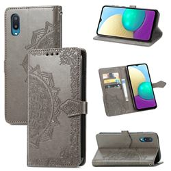 Embossing Imprint Mandala Flower Leather Wallet Case for Samsung Galaxy A02 - Gray