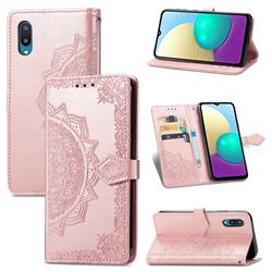 Embossing Imprint Mandala Flower Leather Wallet Case for Samsung Galaxy A02 - Rose Gold