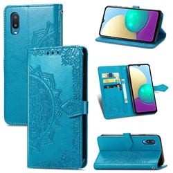 Embossing Imprint Mandala Flower Leather Wallet Case for Samsung Galaxy A02 - Blue