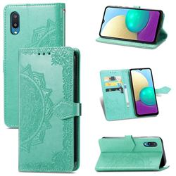 Embossing Imprint Mandala Flower Leather Wallet Case for Samsung Galaxy A02 - Green