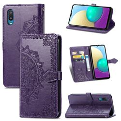 Embossing Imprint Mandala Flower Leather Wallet Case for Samsung Galaxy A02 - Purple